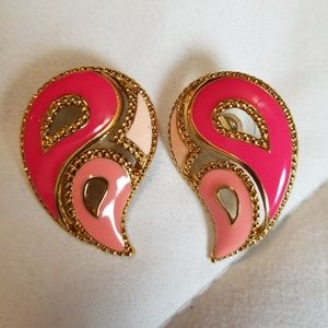 Avon Signed Pink Gold Tone Earrings